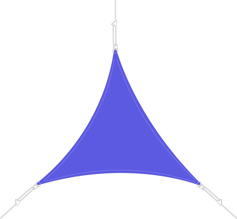 Voile d'ombrage triangle 4 x 4 x 4 m Bleu