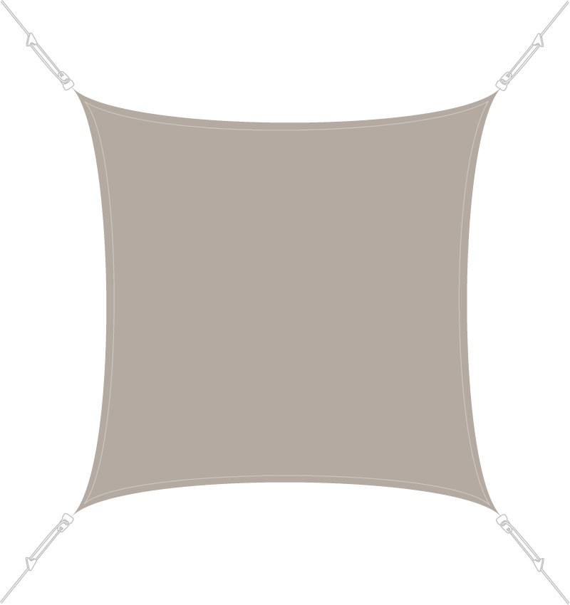 Voile d'ombrage carrée 4 x 4 m Taupe